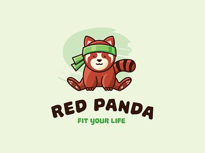 Red Panda logo funny jump panda red