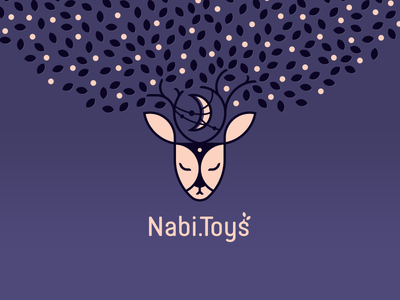 Nabi.Toys tree mystic moon leaves horns deer logo deer cute brand logo