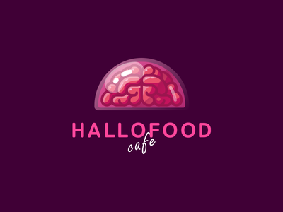 Hallofood halloween cafe food brain funny brand logo