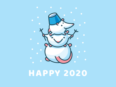 happy 2020 snowman rat 2020 vector illustration design funny cute logo