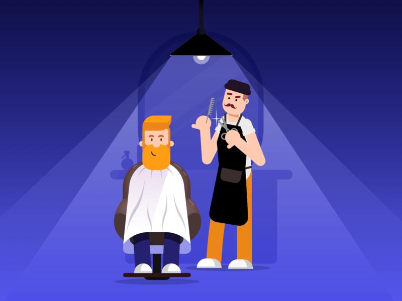 Barbershop Illustration vector concept splash preloader illustration web mobile beard barbershop app barber