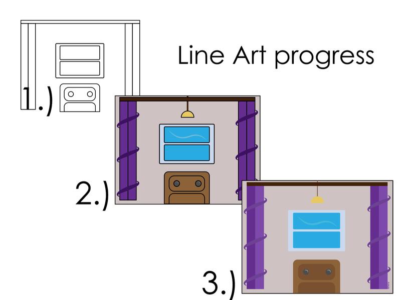 Line Art progress coloring book window room doodle work art illustration design vector line artwork line art
