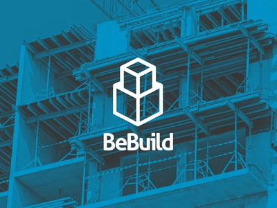 Logo for BeBuild graphic design modern clean line icon ivandd logo building cube construction build