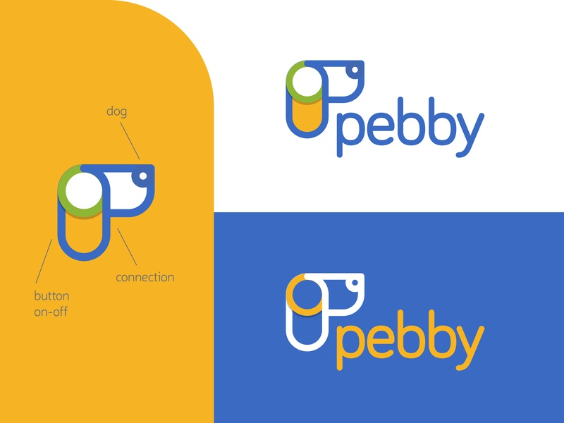 One of my logo designs for Pebby startup tech mark on-off p letter logodesign connection button pet dog logo visual design clean graphic design icon design concept brand branding identity logo