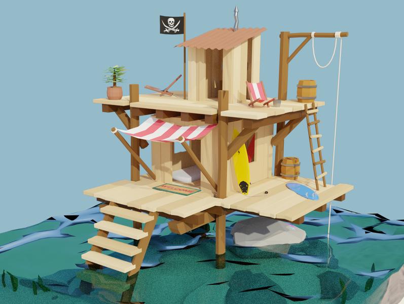 Sea Shack low poly 3d animation 3dmodeling 3d blendercycles lowpoly blender3d