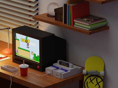 3D Isometric room detail blink182 rock n roll racing super mario nintendo nes super nintendo snes blender blender3dart blendercycles blender3d isometric art 3dart 3d
