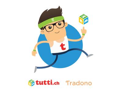 tutti.ch T-shirt for Zürich Marathon 2018 marketplace character mascot illustration tshirt tradono tuttolino tutti.ch vector