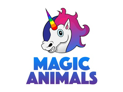 Magic Animals Logo einhorn unicorn rainbow colourful special colours illustration vegan visual identity animals magic logo