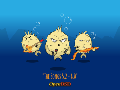 Openbsd Songs Cover drawing ocean metal kaos chaos rock band fishes fish illustration cover cd cover