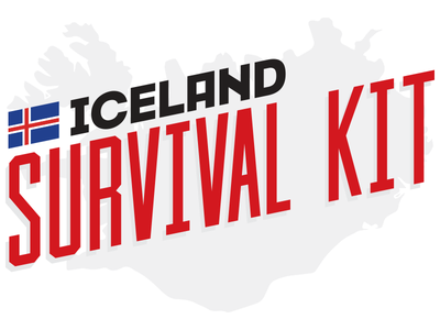 Logo Iceland Survival Kit funny illustration survival kit iceland logo