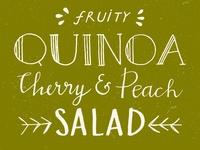 "Hand lettered recipe title ""Quinoa salad"""