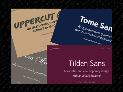 Delve Font Specimens Pages color branding web website ui typography