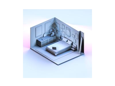 Isometric Bedroom Experiment cinema 4d c4d