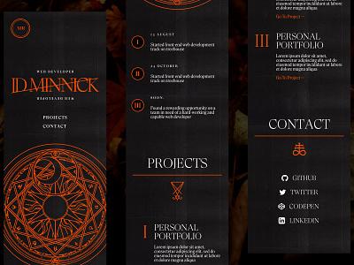 Tarot-Inspired Personal Site Concept (Mobile) mobile ui responsive website web design ui tarot card tarot occult dark mode