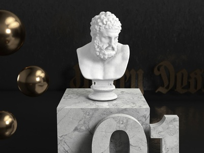 Blackletter Vignette typography cinema 4d 3d c4d