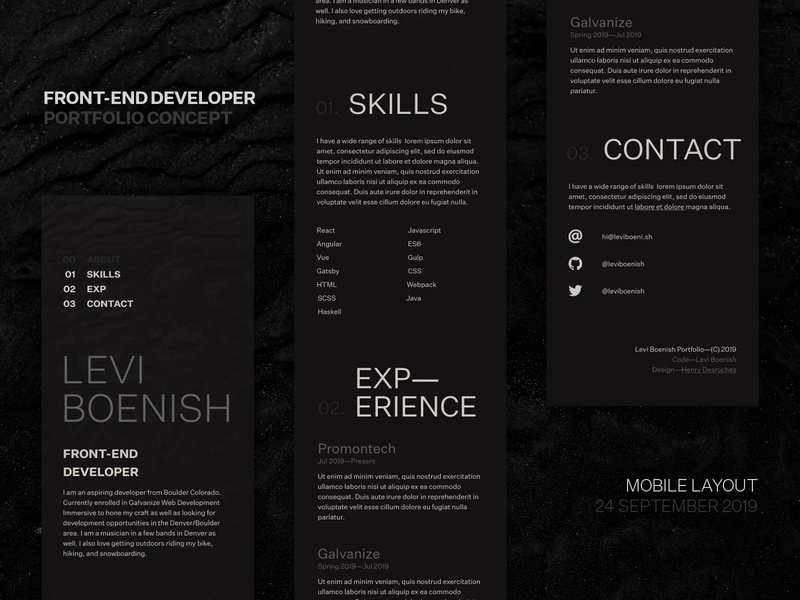 Front-end Developer Portfolio Site [Mobile] website concept front-end developer portfolio personal site web mobile typography ui website