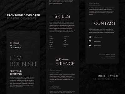 Front-end Developer Portfolio Site [Mobile] website concept front-end developer portfolio personal site web mobile typography ui website