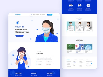 Coronavirus (COVID-19) Medical Prevention & Health Landing Page modern disease ncov-2019 medical health clean prevention creative website web vector ui ux typography landing page illustration design covid-19 coronavirus corona awareness