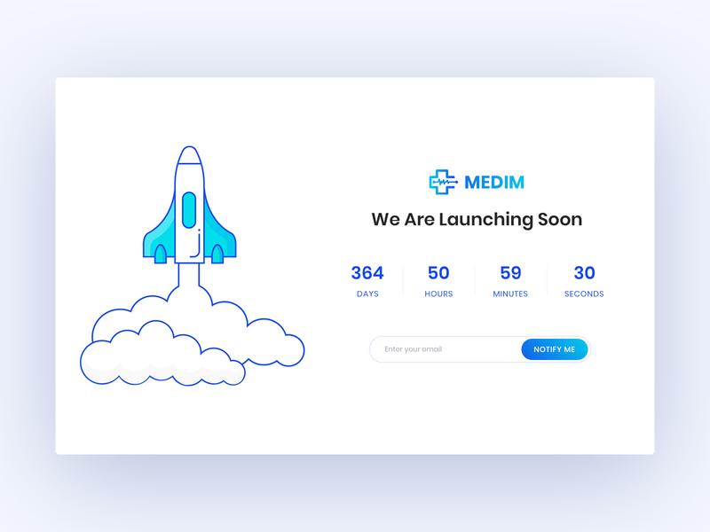 Coming Soon Page minimal ux ui hospital wip website web medical medim coming soon launch rocket illustration
