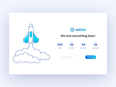 Coming Soon Page minimal ux ui hospital wip website web medical medim coming soon launch rocket illustration
