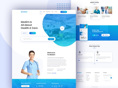 Medim - Medical and Health Website webdesign doctor neurology cardiology health app treatment eye dental blood test surgery clinic hospital healthcare typography uiux creative clean health medical medim