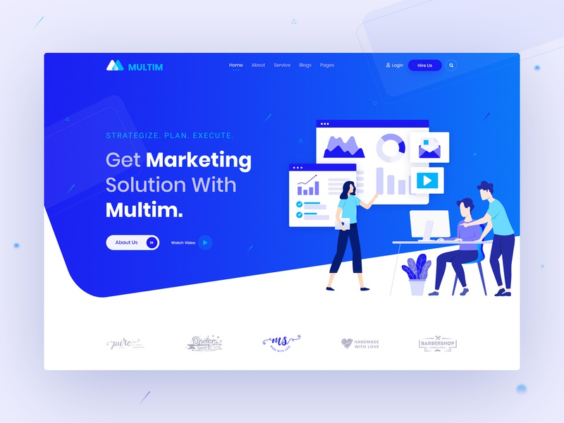 Creative Digital Marketing Agency Header landing page ui ux team startup service art marketing agency digital agency creative agency creative coworking space colorful business agency clean illustraion typography webdesign seo website