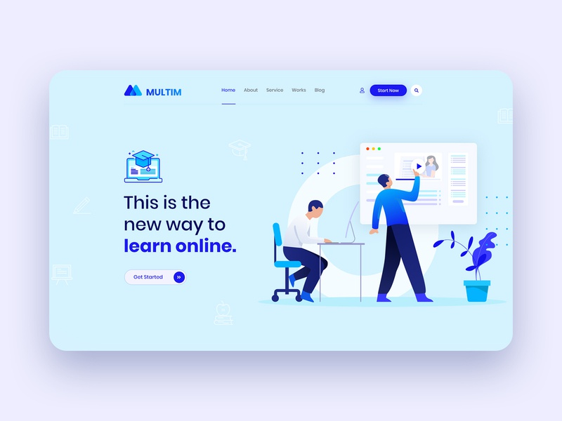 Online Learning Platform: Education Landing Page Header online class study online courses education landing page education website typography illustration web design ui ux design elearning platform online learning online education minimal landing page homepage creative clean agency