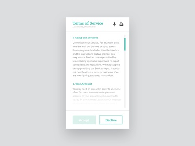 Day 89 – Terms of Service user interface fine print privacy policy terms of service mobile uidesign legal lawyer cover terms dailyui 089