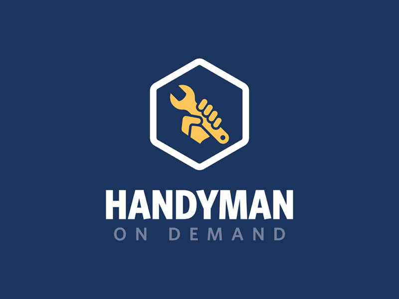 Handyman on Demand Logo handy maintenance service modern logos logo on demand power fist wrench handyman design clean
