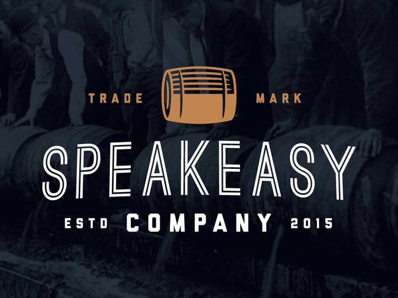 Speakeasyco Logo old school 1920 cocktail hipster prohibition alcohol speakeasy barrel simple flat clean logo
