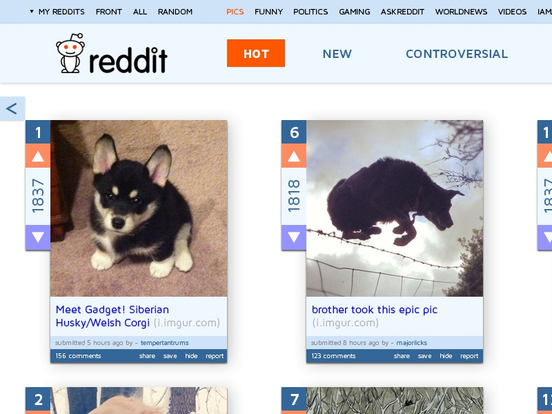 Reddit Redesign 2 ux ui reddit redesign web design sean tremaine website alien responsive flat dog puppy news colorful colors interface simple puppies