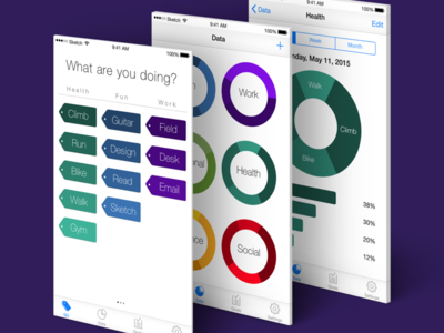 GO: Life balance + time tracking application prototype framer health iphone ui app tracking ios