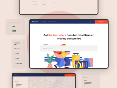 Smoovr – Moving Services Website Flow pastel infrastructure transport logistics delivery moving ux layout creative concept minimal ui clean