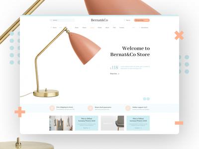 Bernat Kitchens online store luxury pale concept c4d brand website ui store shop pastel clean minimal
