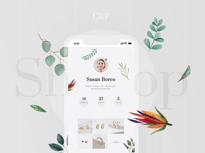 Creative Space app shop typographic social plants pastel illustration grid creative font design clean app