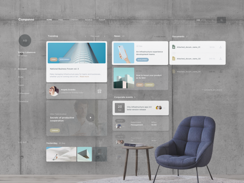 Company Dashboard concept AR ux network account agency finance business cards pastel layout grid concept style app trend dashboard minimal ui clean vr ar