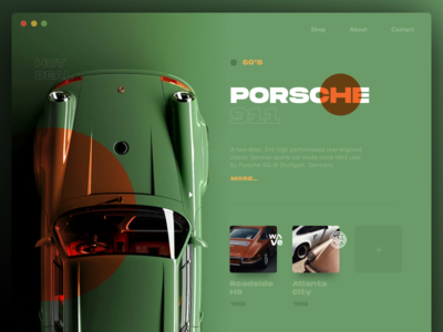 Perfect Cars green badge retro creative auto car typography app website layout cards card shop concept minimal animation style grid ui clean