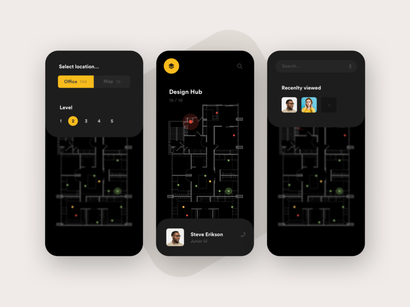 Office Tracker app navigation mobile search workflow tracker black ios flow map app layout card ux concept minimal creative style grid ui clean