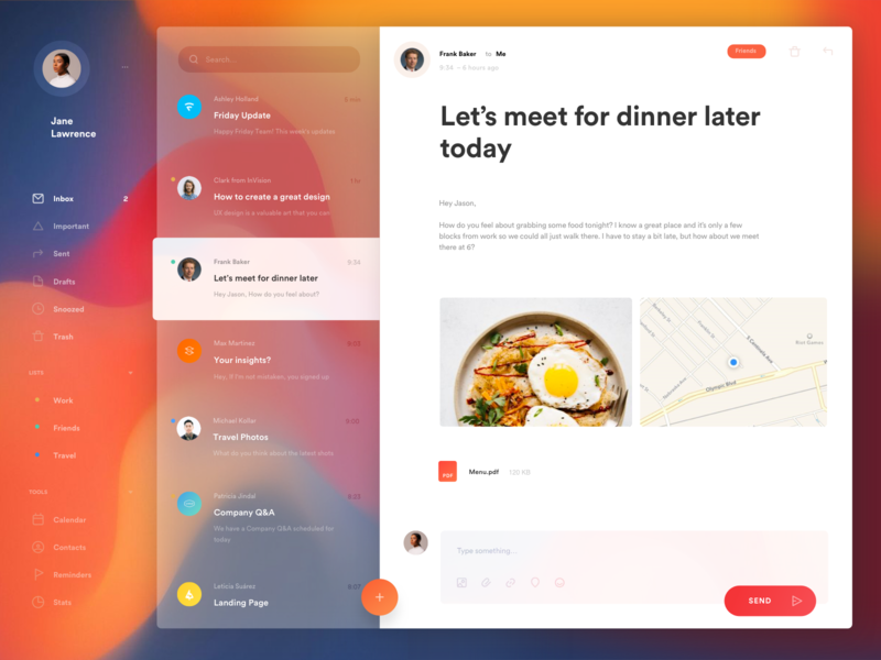 Winto – Mail App muzli inbox profile productivity dashboard account gradient colorful ux app layout card animation concept grid minimal creative style ui clean