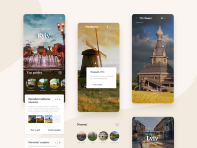 Ukraine Travel Guide 3d mobile sturtup guide navigation travel interaction typography ux layout app card animation concept grid style minimal creative ui clean