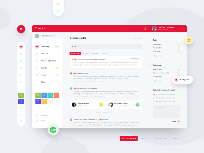 Compt.io – Company Dashboard management crm software interface search feed company finance account dashboard website app ux layout concept grid style minimal ui clean