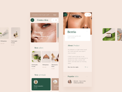 Cosmaetica – Online Beauty Store ecommerce ios mobile beauty branding shop website typography pastel card app ux layout concept grid creative style minimal ui clean