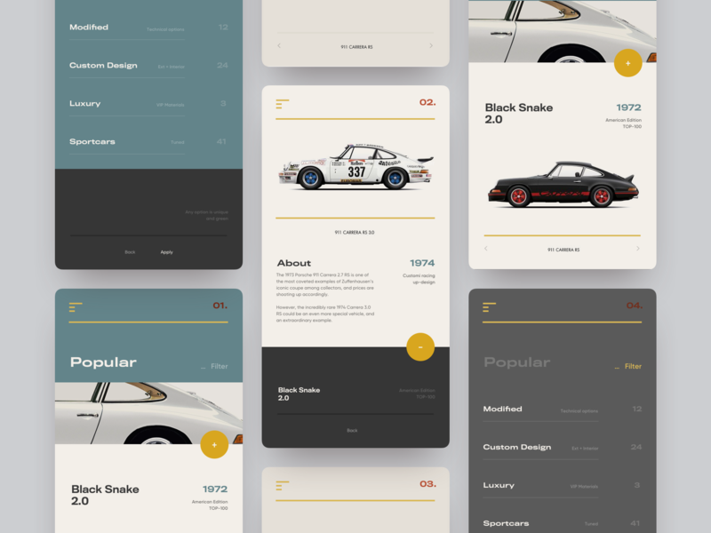 Custom Porsche Shop luxury mobile retro navigation shop typography website pastel animation card ux app layout grid creative concept style minimal ui clean