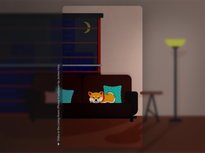 Shiba in the Living Room (Night)
