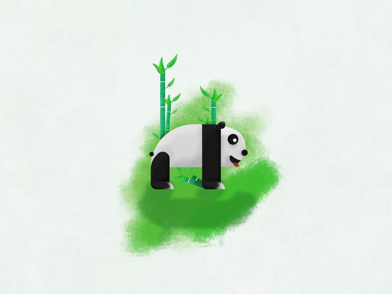 Panda brush flat green bamboo drawing designer affinity illustration cute panda animal