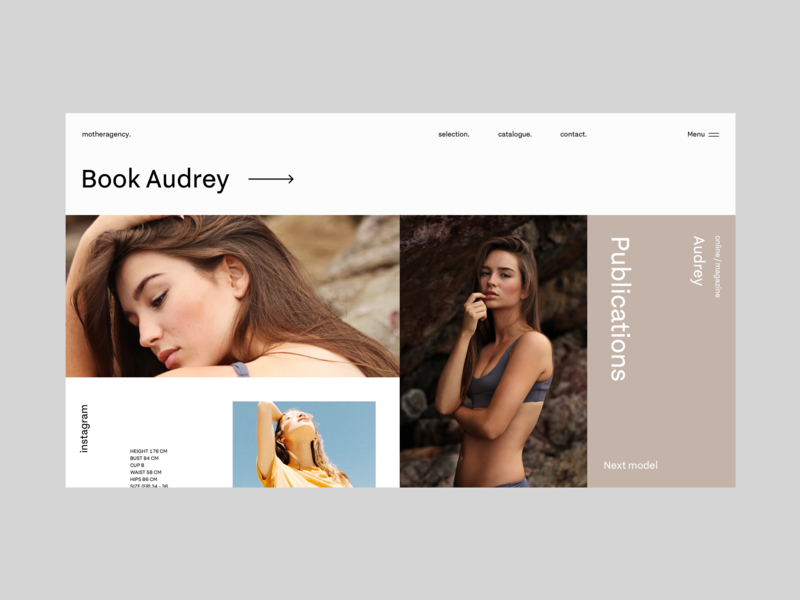 Layout research #1 - model book page grid fashion photography models concept ui interface agency
