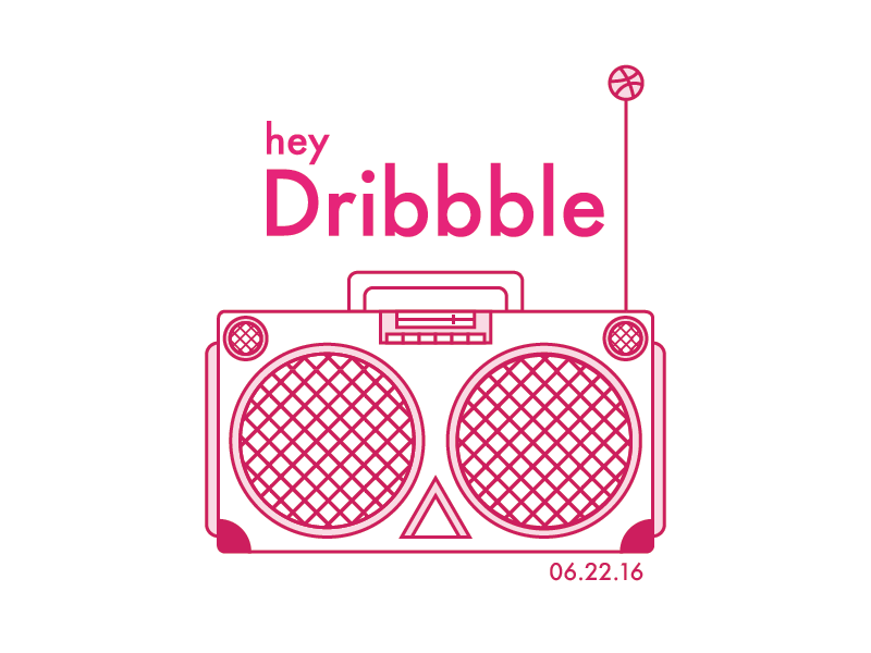Yo! line art pink debut illustration speaker boombox first shot