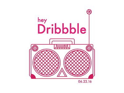 Yo! line art pink debut illustration speaker boombox first shot