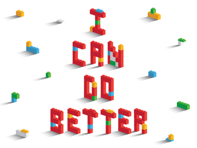 I Can Do Better vector perspective gradient shadow illustration white blue green yellow red lego