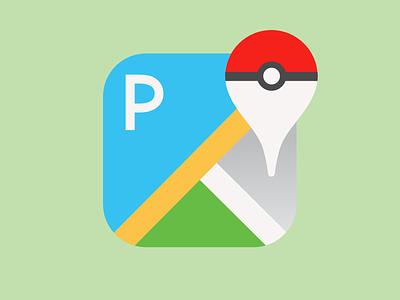 Pokemon Go App Icon icon app app icon dailyui 005 maps google google maps pokeball go pokemon pokemon go